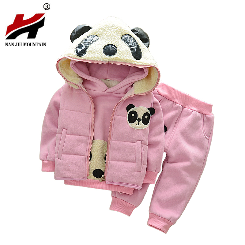 2017 Winter Boys Boys And Girls Suits Wholesale 1-4 Years Plus Velvet Thick Red Panda Cotton Warm Jacket 3 Sets купить