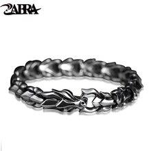 ZABRA 925 Sterling Silver Luxury Cool Dragon Bracelet for Men Vintage Steampunk Rock Biker Male Hand Jewelry Customize Length
