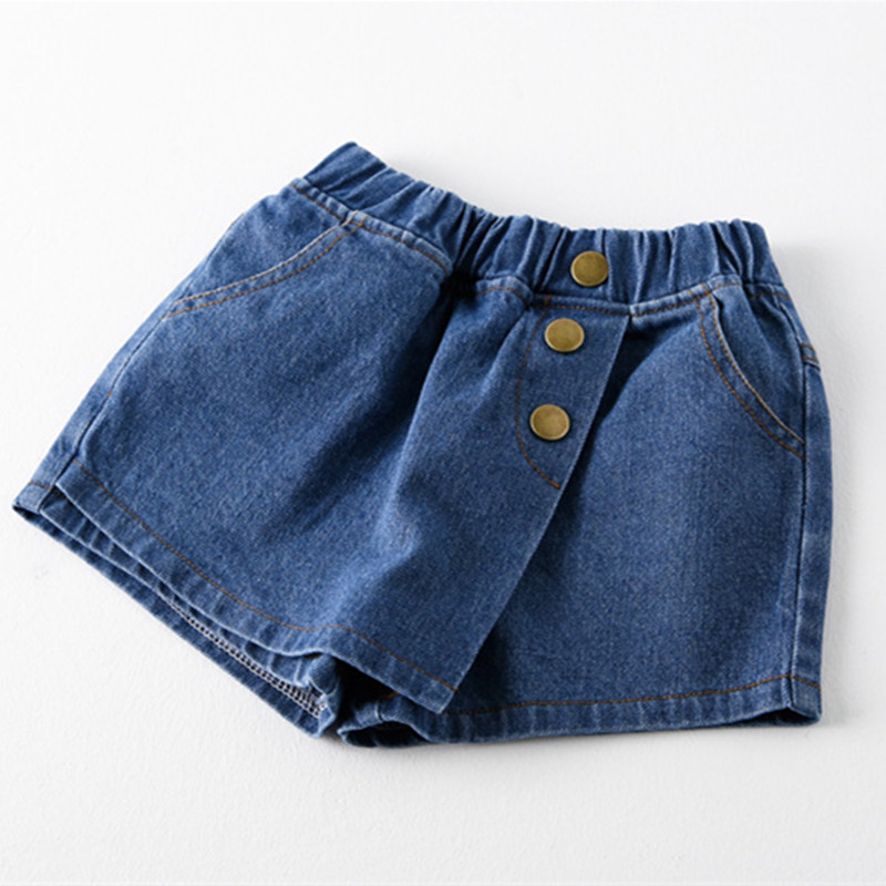 Summer Kids Girl Short Jeans Pants 2019 Fashion Kids Wash Jeans Fake Two-piece Skirt Pants Shorts Girls 2-7 Y Baby Girl Clothes