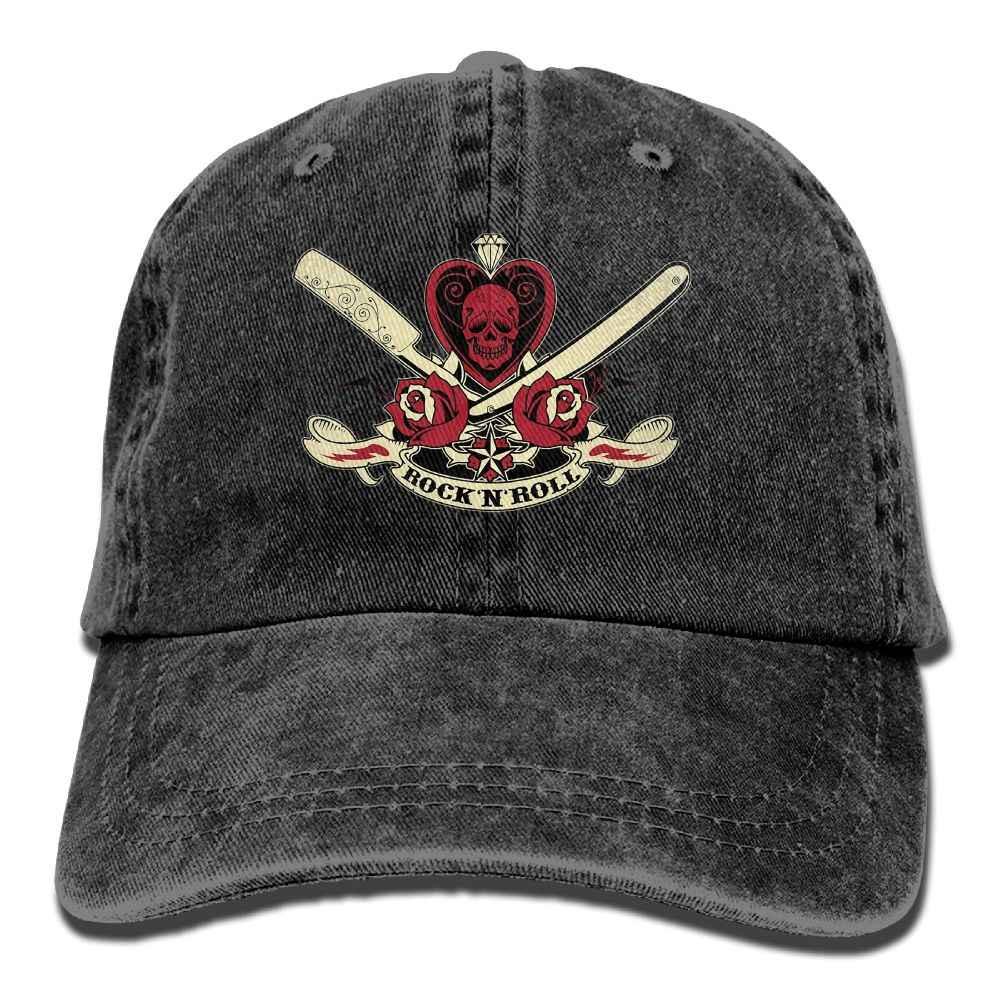 SAMCUSTOM i love Rock N Roll 3D Yaratıcı kişilik Yıkanmış Denim Şapkalar Sonbahar Yaz Erkekler Kadınlar Golf Güneş Koruyucu Hokeyi Kapaklar