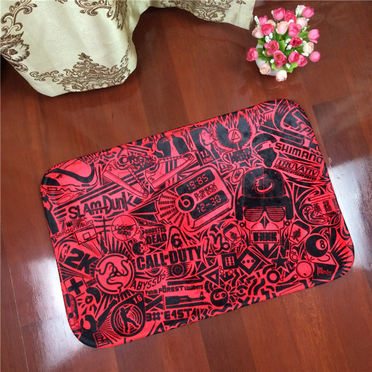 2017 New Painting Graffiti Flannel Carpet Pad Brand Kitchen Toilet