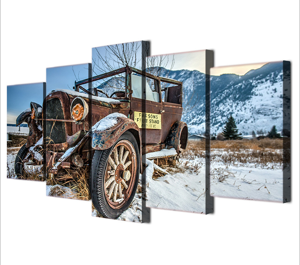 5 piece wall canvas art picture old broken car hd printed wall art 5 piece wall canvas art picture old broken car hd printed wall art home decor canvas painting picture poster prints art in painting calligraphy from home amipublicfo Images