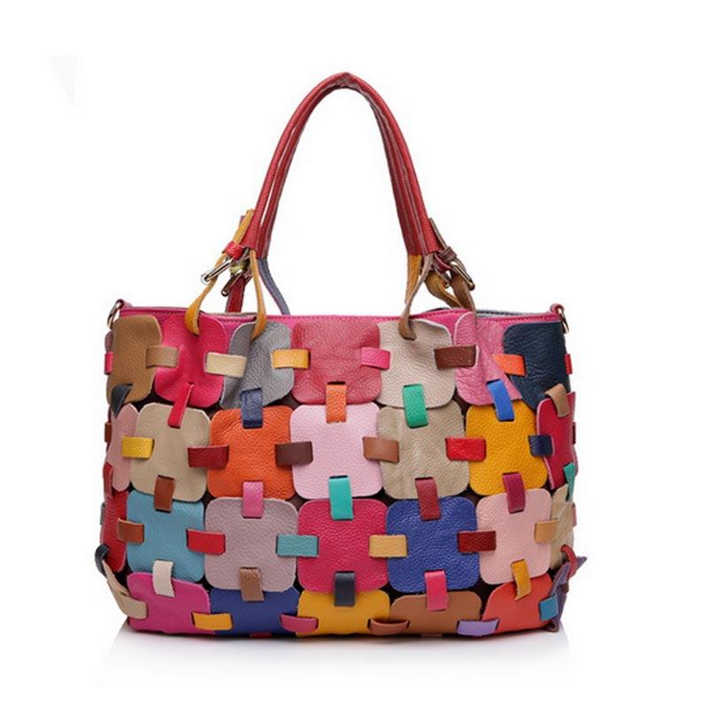 100% Genuine Leather Women Handbag Cow Leather Multi Shoulder Bag Casual Colourful Patchwork Women Bag Tote KJ055