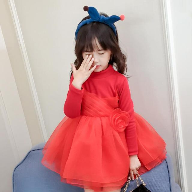 b6bd7256be5 US $16.99 43% OFF|Christmas Red Winter Flowers Princess Dress Girl Long  Sleeve Kids Party Birthday Dresses For Girls Baby Toddler Children  Clothes-in ...