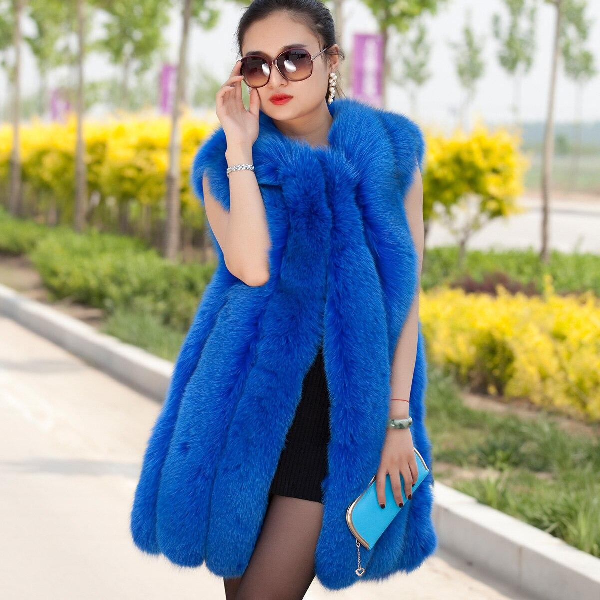 2017 Luxury Genuine Fox Fur Vest Waistcoat Autumn Winter Women Fur Outerwear Coats Lady Gilet Cotton Lining 0722