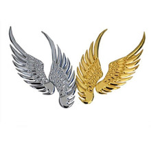 Car decoration sticker 3d alloy Metal Angel Hawk Wings Emblem Badge Decal Logo Sticker 2pcs for