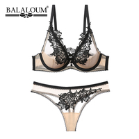 BALALOUM Half Transparent Women Sexy Lace Embroidery Bra and Panty Sets Push Up Brassiere Seamless T Back Thongs Female Lingerie