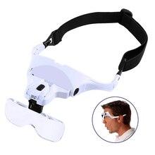 독서 용 안경 헤드 밴드 돋보기 포커스 조절 가능 5 렌즈 루페 led 라이트 돋보기 가변 강도 + 1.0 + 1.5 + 2.0 + 2.5 + 3.5