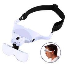 Reading Glasses Headband Magnifier Focus Adjustable 5 Lens Loupe LED Light Magnifying Variable Strength +1.0 +1.5 +2.0 +2.5 +3.5