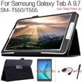 4 в 1 Стенд Складной Флип PU Кожаный Чехол Чехол для Samsung Galaxy Tab A 9.7 T550 T555 Планшетный + Free Screen Protector + OTG + ручка