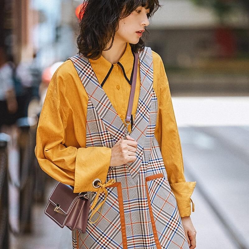 Originale Large À Gilet Motif Mode Hiver Robe Plaid Conception Vintage Gloria Automne Long Imprimer 2019 Et Oversize Grâce Taille Gris OqRSUtcx6