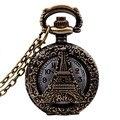 Урожай ретро бронзовый племенной башня сплава кварц карманные часы ожерелье цепь подарков мужской классический античный полый мода часы