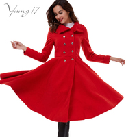 Young17 2016 Winter Coat Women Double Breasted Wool Coats Oversize Ladies Blue Long Trench Coat Casacos