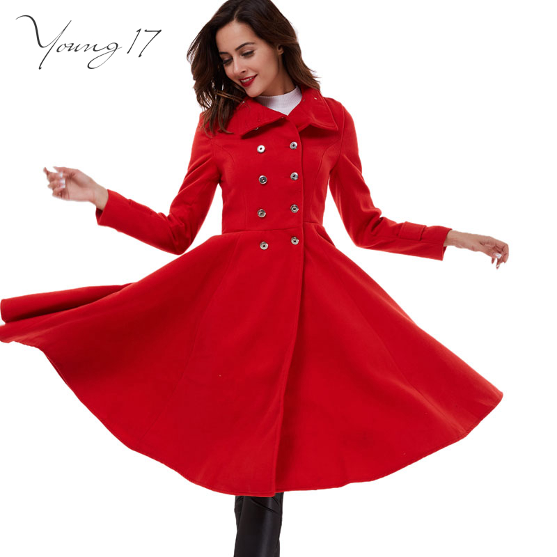 Young17 2016 winter Coat Women Double Breasted Wool Coats Oversize ladies Blue Long Trench Coat Casacos Femininos Red Coats Wool