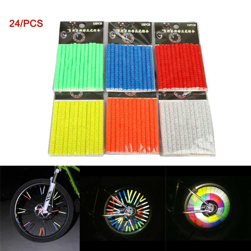 24pcs Bike Wheel Reflectors Spoke Reflectors Reflective Mount Clip Tube Red