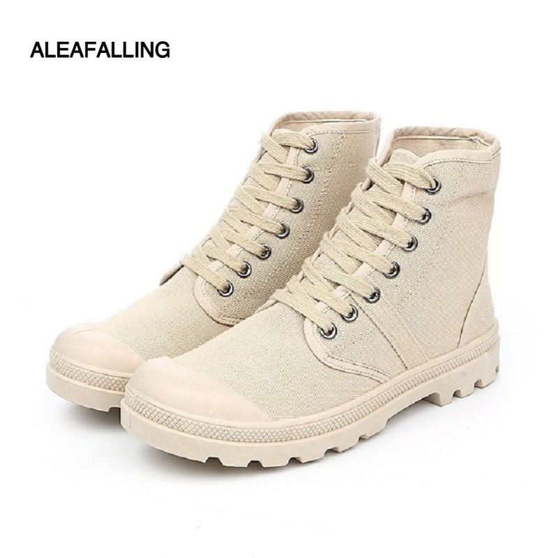 Aleafalling Classcial Outdoor Men Shoes Canvas Sneakers Male High Mature Boots Street Fashion Trend Ankle Motorcycle Boots Mbt30 Men's Shoes