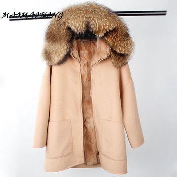 2017 New Winter Parka Wool Cashmere Coat Women Fur Jacket Overcoat Collar Hooded Rex Rabbit Fur liner Top Quality 1