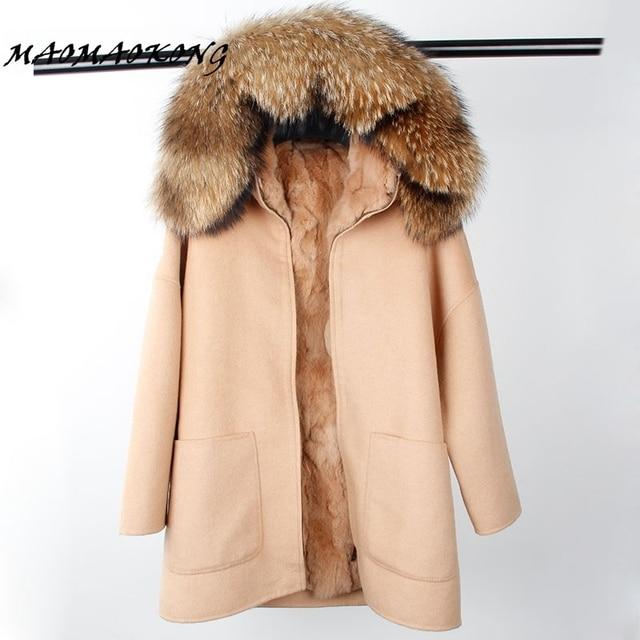 2017 New Winter Parka Wool Cashmere Coat Women Fur Jacket Overcoat Collar Hooded Rex Rabbit Fur liner Top Quality 1