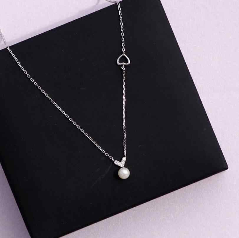 Anenjery 925 Sterling Silver Necklace Micro Zircon Love Heart Simulated Pearl Clavicle Necklace For Women Choker Collar S-N221
