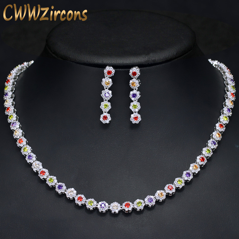 CWWZircons Multi Color Cubic Zirconia Women Wedding Choker Necklace And Earrings Sets Elegant Women Party Costume jewelry T119 characteristic solid color multi layered necklace and a pair of earrings for women