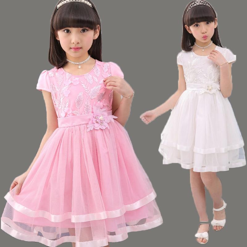 Fashion Teenage Girls Lace Dresses Summer Kids Dresses For Girls Clothes Fashion Girl Embroidery Princess Birthday Party Dress 1