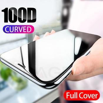 100D courbé couvercle complet verre de protection sur le pour iPhone 7 8 6S Plus trempé protecteur d'écran iPhone 11 Pro X XR XS Max verre