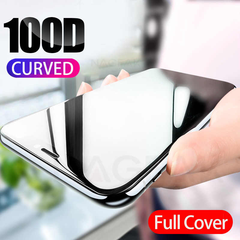 100D Curved Edge Full Cover Protective Glass On The For iPhone 7 8 6 6S Plus Tempered Screen Protector iPhone X XR XS Max Glass