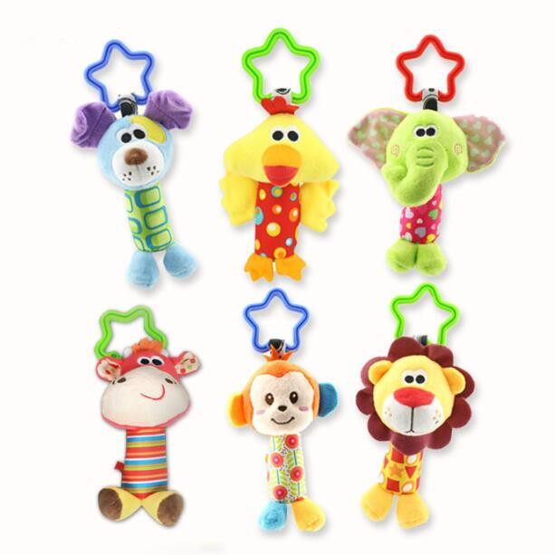 все цены на New Arrive Baby Toys Animal Hand Bells Plush Baby Boys Girls Toy Newbron Gift Baby Rattle Toys BF10