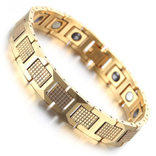 Mens Tungsten Bracelet, Shiny Gold Magnetic Health Care Jewelry KB1539