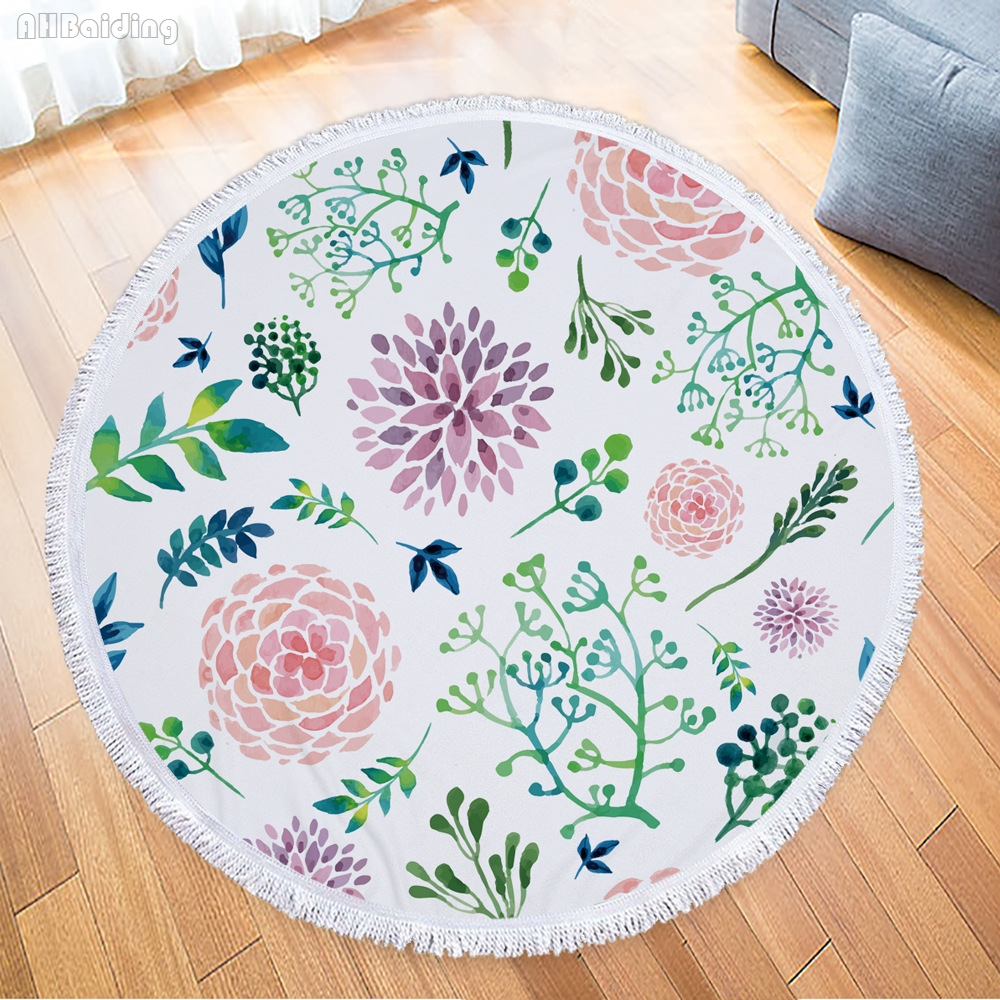 Floral Printed Round Beach Towel With Tassels Women Large