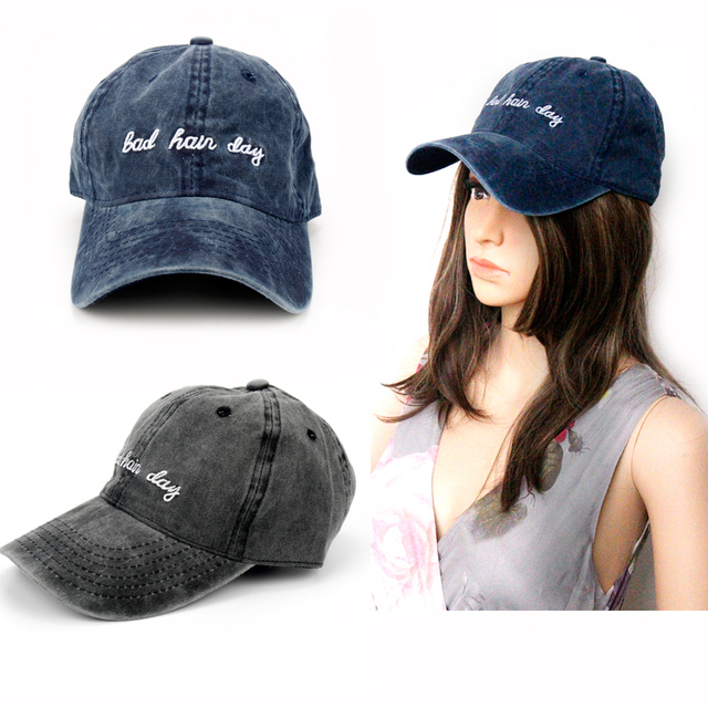 52737780603 2018 Dad Hat Solid Washed Baseball Caps Women Men Bad Hair Day OOPS Letter  Embroidery Couple Cap Navy Dark Grey Trucker Hat Gift