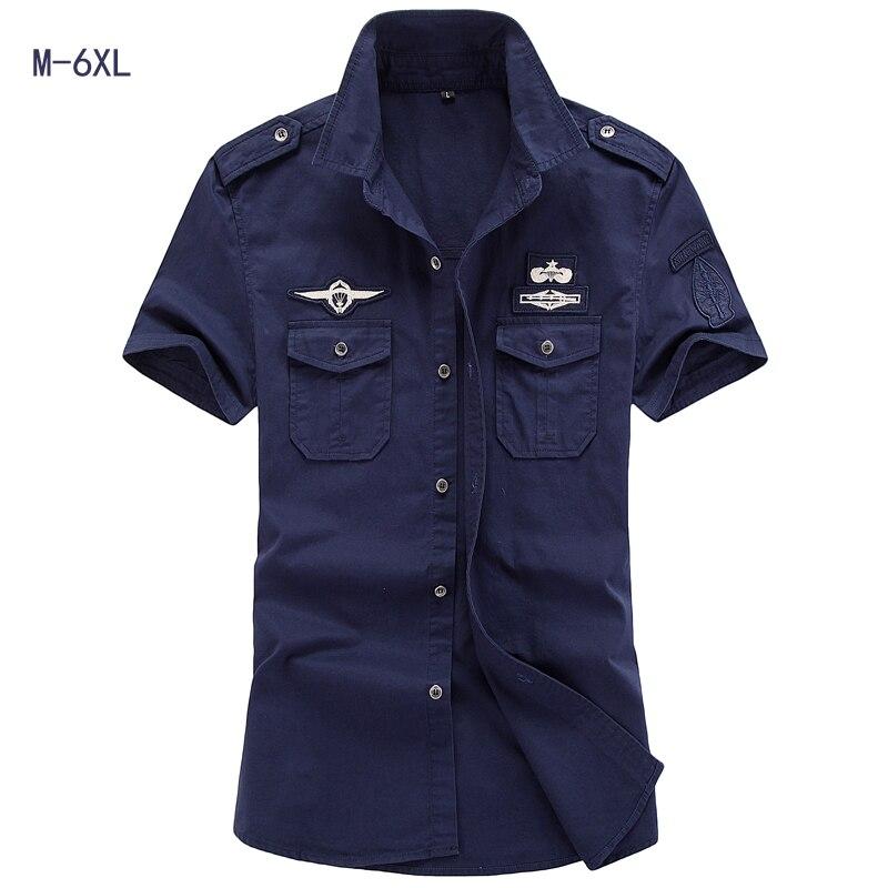 Mens Shirt 2017 New Men Cargo Shirt Fashion Casual Shirt Summer Style 100% Cotton Solid Mens Casual Shirt Plus Size M-6XL