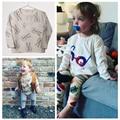 1-7Y Bobo Choses Muchachas de Los Bebés Camisetas Otoño Invierno nueva del Algodón de Los Niños Gafas De Conejo Sudaderas Camisetas de Manga Larga Tee