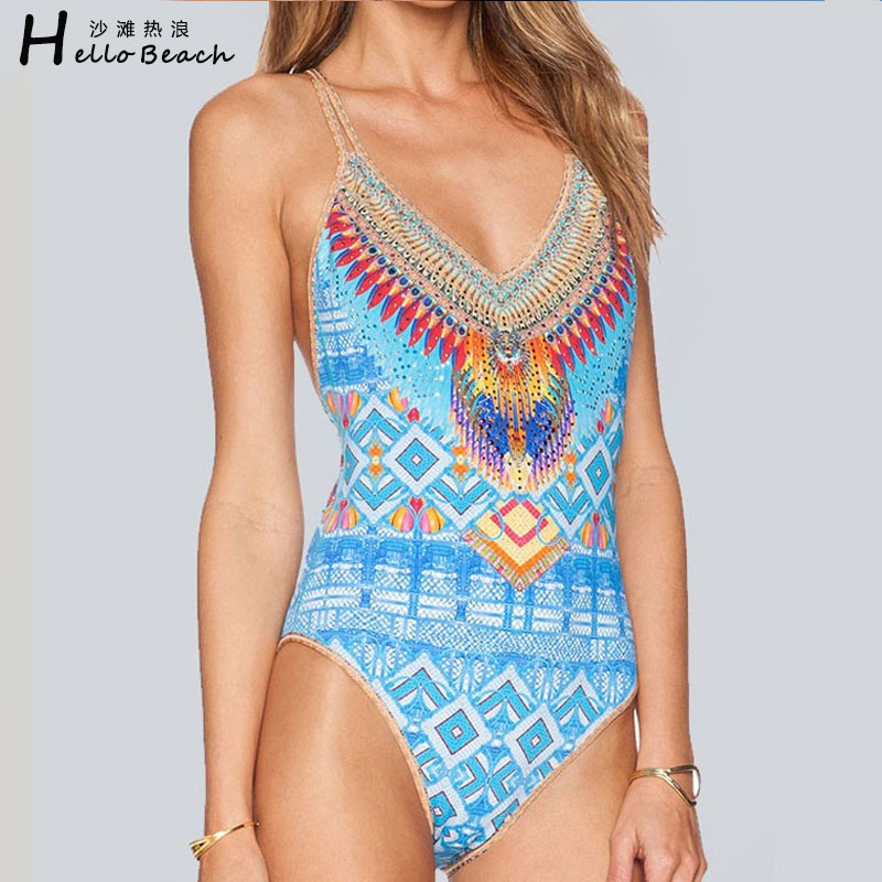 HELLO BEACH Summer Women Sexy Beachwear Swimwear One Piece Swimsuit Female Digital Print Bathing Suit Quality Backless Monokini