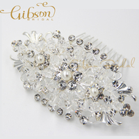 Free Shipping Silver Plating Rhinstone And Crystal Wedding Hair Comb For Brides