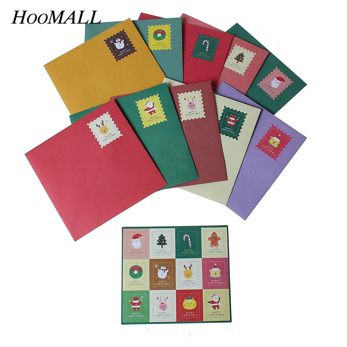 Hoomall 10 Cards +10 Envelopes+12Sealed Paste Per Box Random Folding Christmas Cards Envelopes Invatation Gifts For New Year 2015 bowman baseball cards hobby box 24 packs box 10 cards pack 1 rookie autograph per box april 29th release