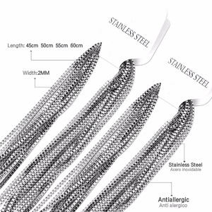 Image 5 - LUXUSTEEL Men/Women Necklaces Pendants 10pcs/lot Stainless Steel No Fade 2mm Box Chains Necklace DIY Accessories 18inch 24inch