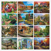 DIY full round rhinestone embroidery European riverside cottage home decoration 5D diamond mosaic painting