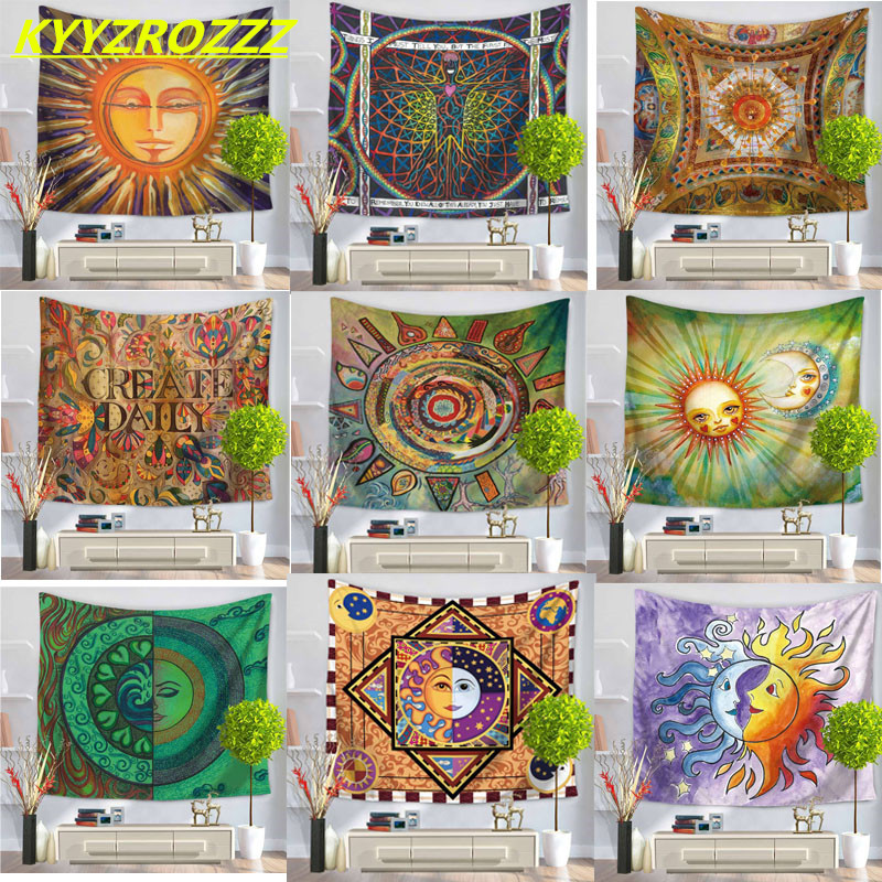 KYYZROZZZ Colorful Tapestry Psychedelic Celestial Indian Sun Tapestry Wall Hanging Throw Bohemian Door Curtain