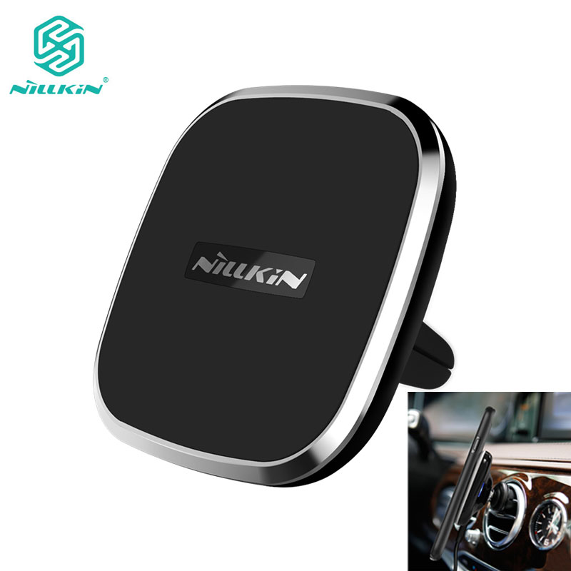 NILLKIN Magnetic Vehicle Mount Phone Holder Pad Qi Wireless Car Charger for iPhone 8 / 8Plus / X for Samsung Note 8 S9 S8
