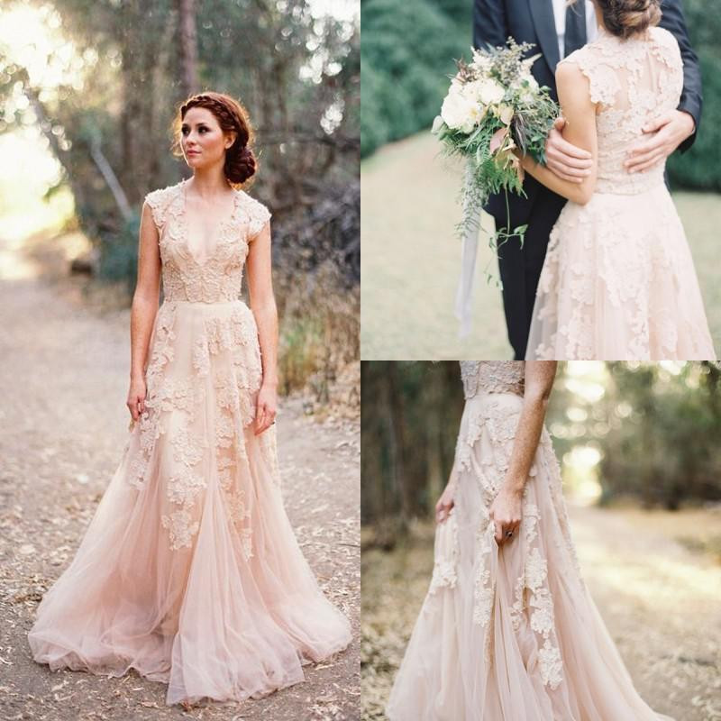 2015 sexy v neck lace wedding dresses applique blush tulle sweep train a line