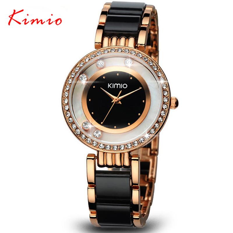 Prix pour KIMIO Marque Relojes mujer montres À Quartz femmes De Luxe Diamant Strass Robe fille Bracelet montre Dames horloge femelle montres