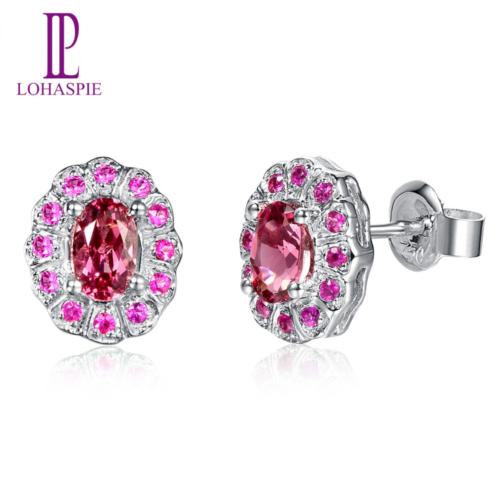 Lohaspie Solid 18k 750 White Gold 092 Natural Pink Tourmaline & Ruby Stud  Earrings Classic Fine