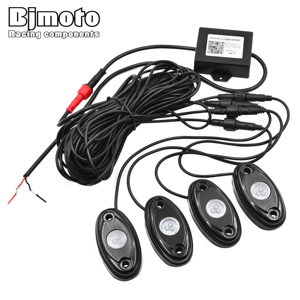 BJMOTO Set of 4pods install bluetooth controller RGB 4 pods LED rock lights decorate light bluetooth rock light