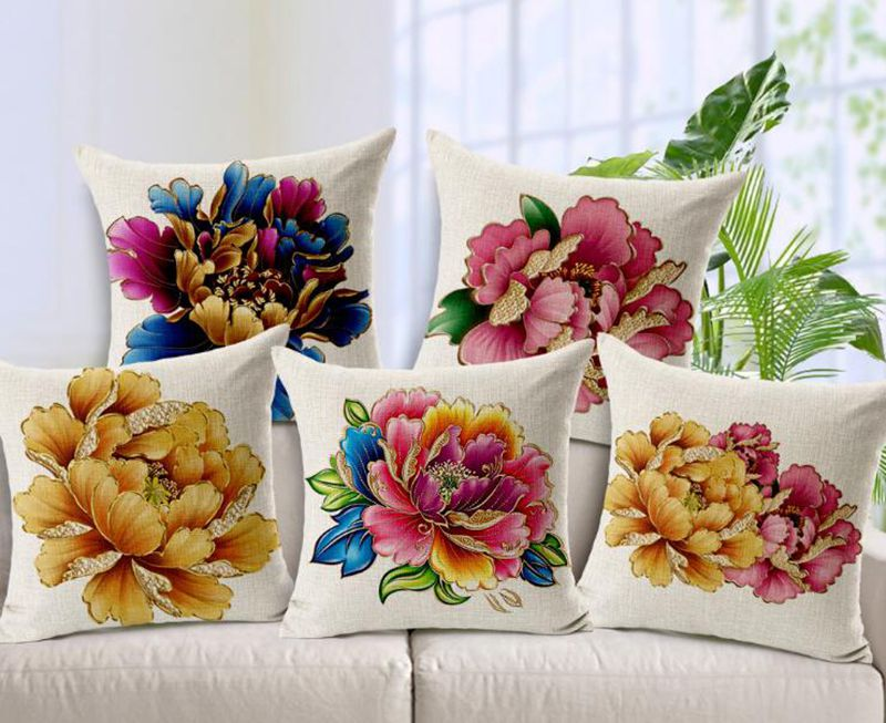 chinese style hand painted peony flowers rich gold linen sofa pillow sets office car seat cushion cover home decor pillowcase