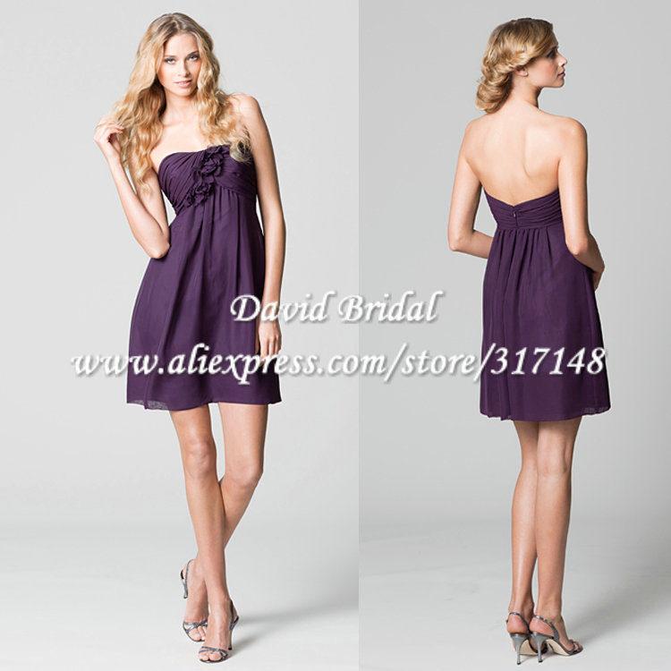 Yag626 Empire Strapless Eggplant Dark Purple Bridesmaid Dress Short In Dresses From Weddings Events On Aliexpress Alibaba Group