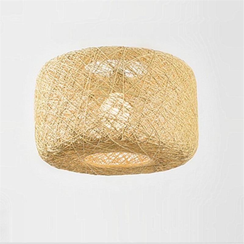 ФОТО Modern Brief Europe Hand Knitted Linen Led E27 Pendant Light for Restaurant Dining Room Living Room AC 80-265V 2156