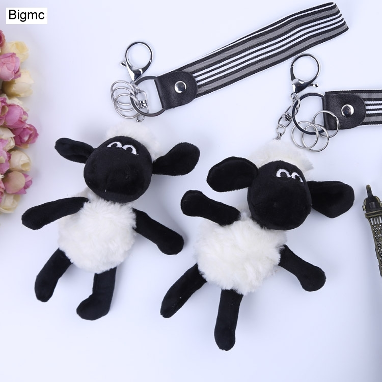 New Sheep Fur Key Chain New Pompom Animal Plush Keychain Car Key Ring Sheep Bag Fashion Phone Key Holder Gift Jewelry K1263