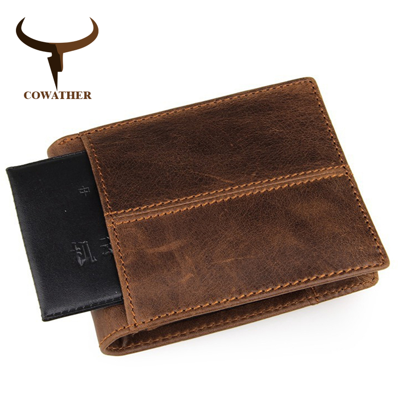 Image 4 - COWATHER 100% top quality cow genuine leather men wallets fashion splice purse dollar price carteira masculina original brandcarteira masculinaleather mens walletgenuine leather men wallet -