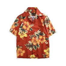 купить Hot Fashion Holiday style Men's short sleeves Shirts Hawaii floral print Shirt Men beach tops A354 дешево